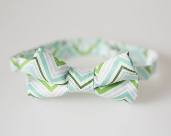 Toddler Bowtie - Blue and Green Chevron