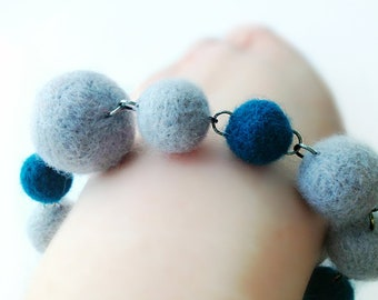 Felt Ball Bracelet - Needle Felted Grey and Dark Turquoise Ball Bracelet