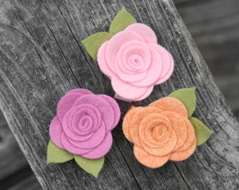 Baby Flower Hair Clip, Felt Flower Hair Clips for baby, infant, toddler tween teen adult, 2 SIZES available - OVER 30 COLORS to choose from