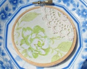Green and Cream Embroidery Hoop Art Ornament. Vintage Retro Fabric Lime Green Pastel Flowers Roses Christmas Decoration Domum Vindemia