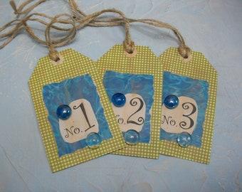 Handmade Numbered Tags Set Cottage Style Embellishment