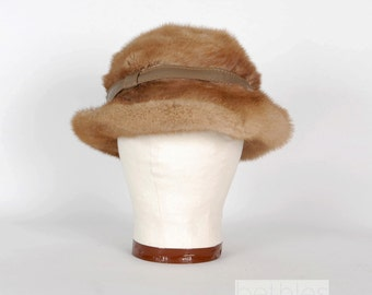 1960s Hat Brown Fur Hat Fur Cloche Leather Trim Hat Vintage 60s Light Brown Hat by Boutique Hat Womens Hat Winter Hat Fur and Leather Hat