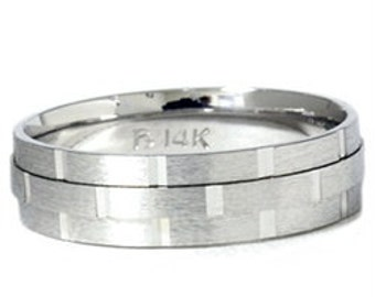 Hand Carved Wedding Band 6MM Brushed Mens Ring 14K White Size (7-12)