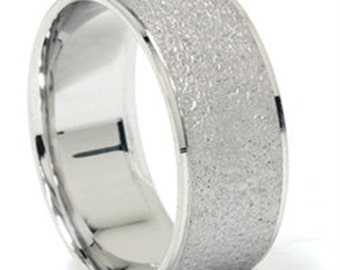 8MM Mens Solid 14K White Gold Stone Finish Wedding Ring Band Size 7-12