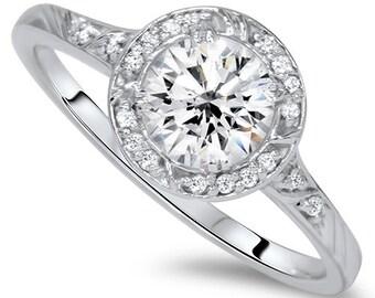 1.00CT Halo Round Diamond Engagement Ring Round Brilliant Cut 14 KT White Gold Vintage Antique Style New, Diamond Engagement Ring