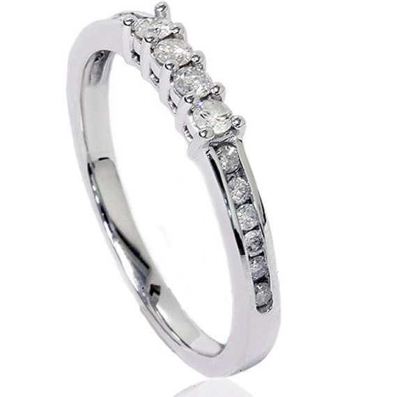 Diamond Wedding Ring Womens Channel Set .35CT 14K White Gold Round Cut Anniversary Band Size (4-9)