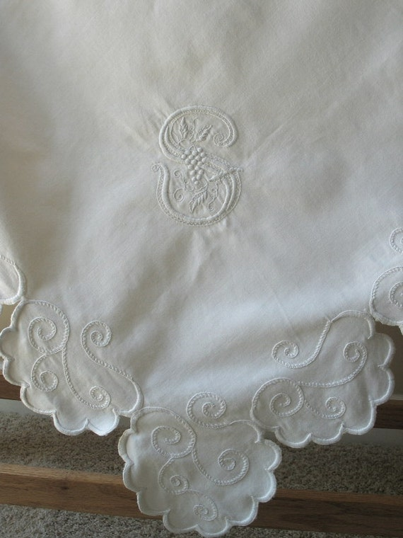 Victorian Table Topper Monogram S White Work Embroidery