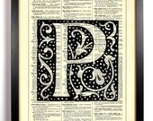 Letter P Filigree, Home, Kitchen, Nursery, Bath, Office Decor, Wedding Gift, Eco Friendly Book Art, Vintage Dictionary Print 8 x 10 in.