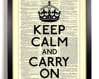 Keep Calm And Carry On, Home, Kitchen, Nursery, Bath, Office Decor, Wedding Gift, Eco Friendly Book Art, Vintage Dictionary Print 8 x 10 in.