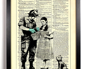 Banksy Dorothy In Trouble, Home, Kitchen, Nursery, Office Decor, Wedding Gift, Eco Friendly Book Art, Vintage Dictionary Print 8 x 10 in.