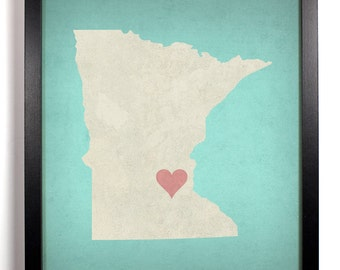 State Love Minnesota, Home, Kitchen, Nursery, Bath, Dorm, Office Decor, Wedding Gift, Housewarming Gift, Unique Holiday Gift, Wall Poster