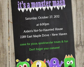 Monster Mash Kids Halloween Printable Party Invitation