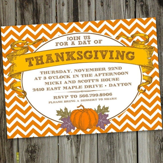 Orange Chevron Thanksgiving Dinner PRINTABLE Party Invitation – Thanksgiving Party Invitation Wording