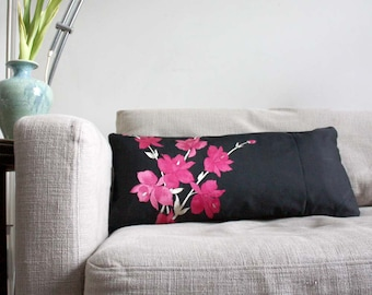 Decorative Pillow. Recycled Embroidered Silk Japanese Obi Sash. Dazzling. Romantic.  Designer 30x65cm 12x26''.