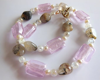 Golden Quartz on pink necklace  314