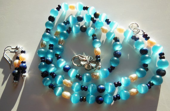 Sky blue with a pink touch set Necklace and earrings  S099