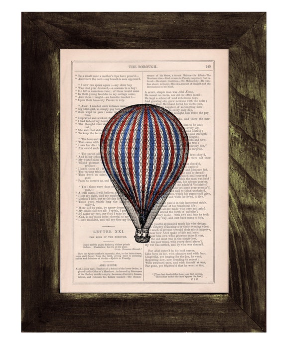 Book print Hot air Balloon classic style n02 Print on Vintage Book - mixed media art TVH114