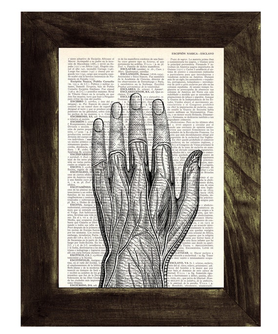 Christmas Sale Medical student gift- Anatomical study of a Human Hand on Vintage Book page- Anatomy study- Gift for doctors  SKA037