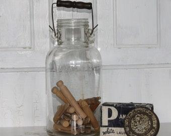 Vintage  Half Gallon Glass Bottle with Wood Handle...