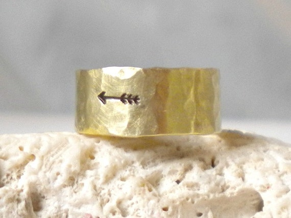 Arrow Ring-Gold Hammered Band Ring-Brass or 14K Gold