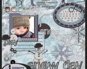 Digital Scrapbooking Kit, just the elements: Snow Day