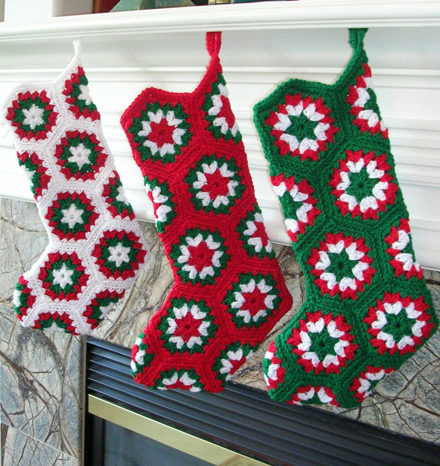 Crochet Xmas Stocking : Crochet Christmas Stocking Custom by CottageImaginations on Etsy