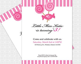 Party Printable Pink Candy  Party Invitation - Personalized Printable