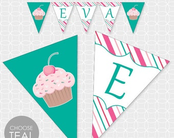 Cupcake Party Banner, Printable file, Personalized