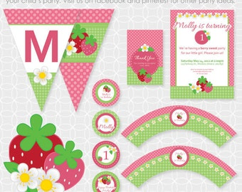 Party Printable Strawberry Party Theme Basic Package - Personalized Printable - birthday, girl, berries, flower, summer, spring, birthday