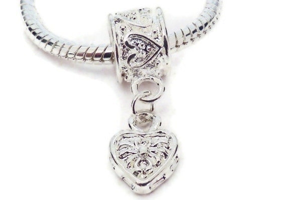 SALE - Shiny Silver Plated Heart on a SP Hearted Bail Charm for European Style Large Hole Jewelry