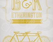 Customized Tandem Bike Print - Anniversary Wedding 11x14