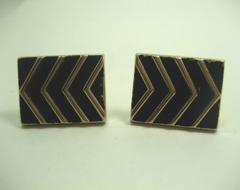 Vintage Chevron Stripes Cufflinks by Swank