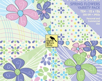 Spring Flowers - Digital Paper - INSTANT DOWNLOAD - for Cards, Journaling, Scrapbooking, Invites, Collage, Decoupage, Crafts and More