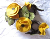 Napkin Ring Set of Four // Bursting with Yellow Bloom // Wool Felt // Ready to Ship
