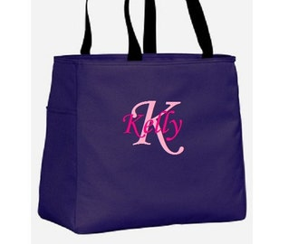 Personalized Bridesmaid Gift Custom Monogrammed Tote Bag Cheer Dance Embroidered Baby Wedding