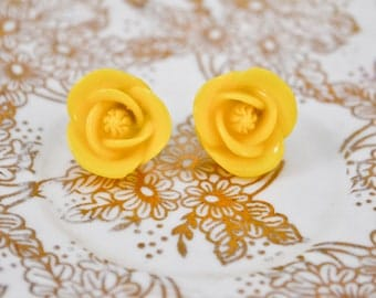 Large Posey Earrings- Yellow