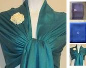 Teal Pashmina Scarf, Shawl, Wrap, bridal shawl, bridesmaids shawl, bridal gift