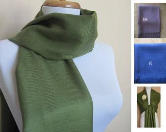 5 Forest Green Pashmina Scarf, Shawl, Wrap, bridal shawl, bridesmaids shawl, bridal gift