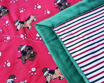 Holiday Pups Cozy (Red) - Reversible Pet Blanket