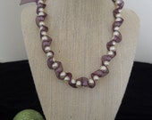 Glass pearl bead and ribbon necklace, bracelet, & earring set.