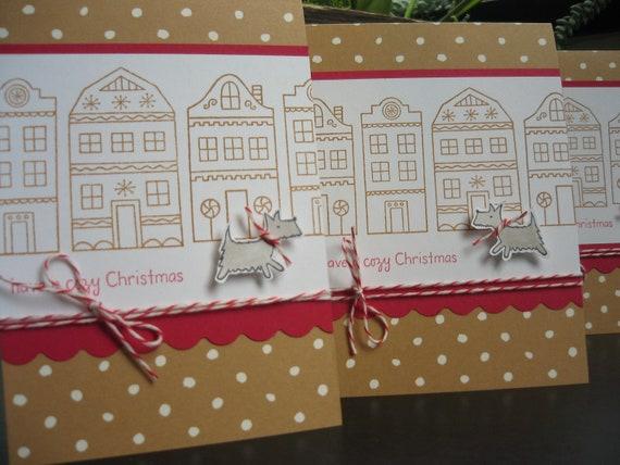Reserved for Deidre: Dog Christmas Cards Set of 4 Gingerbread Houses Schnauzer Dog Lover Whimsical