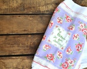 Flour Sack Dish Towel with Vintage Hankie and Embroidery
