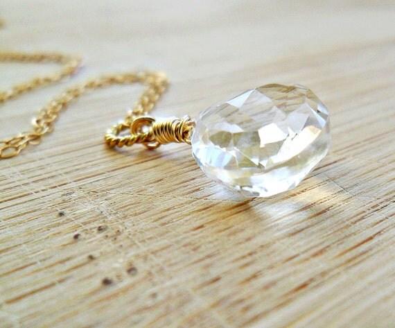 Crystal Quartz Necklace, AAA Rock Crystal Quartz Gemstone Jewelry 14k Gold April Birthstone Necklace