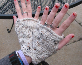 Scalloped Butterfly Fingerless Mitts Pattern--PDF