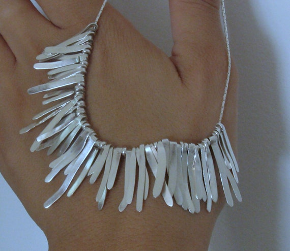 Hadmade Fall Harvest Sterling Silver Organic Wheat Husk Neckpiece // One of a Kind // Fine Jewelry