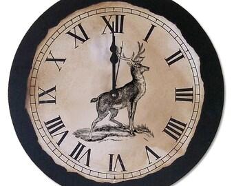 """Rustic Clock   Rustic   Antique   Vintage   Deer Clock   12"""" x 12""""   Rustic Decor   Nature   Wall Art   Outdoor Clock"""