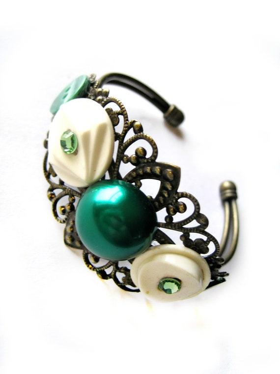 Green Cuff, green bracelet - Swarovski accents - emerald pearl cabochon, VINTAGE buttons - filigree cuff