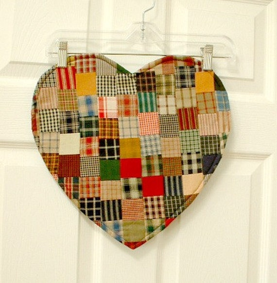 Heart Quilt homespun centerpiece doily in a cottage style print, cotton fabrics in calicos and plaids. Many uses