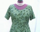 Vintage Emerald Green Silk Georgette with Metalic  Velvet  Flowers Evening Dress
