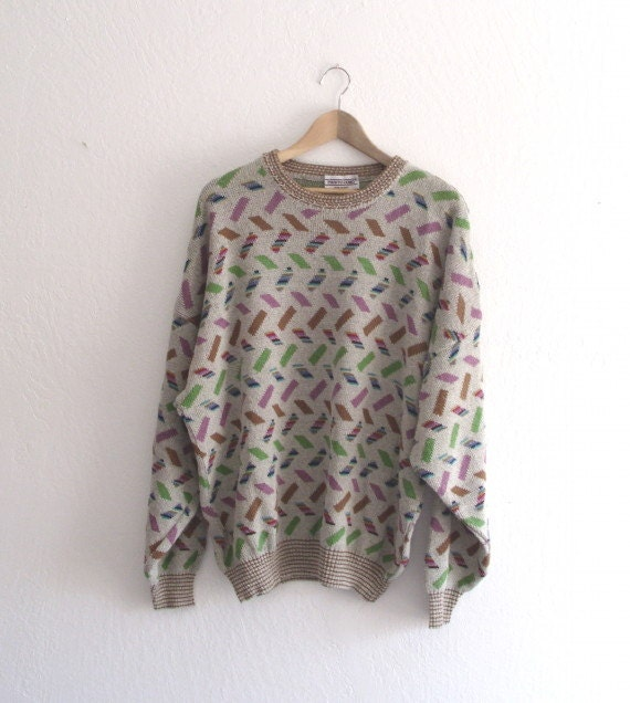 Vintage Men's  Sweater  Pronto Uomo  Made In Italy Geometric Pattern